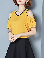 Для женщин На выход На каждый день Все сезоны Блуза Круглый вырез,Винтаж Изысканный Однотонный С короткими рукавами,Искусственный шёлк