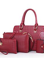 Damen Bag Sets PU Ganzjährig Alltag Im Freien Schalenform Reißverschluss Blau Gold Schwarz Rote Beige