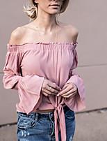 Tee-shirt Femme,Couleur Pleine Décontracté / Quotidien Sexy Mignon Printemps Eté Manches Longues Bateau Polyester Nylon Moyen