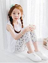 Girls' Casual/Daily Solid Floral Pants-Cotton Summer Fall