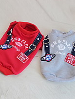 Dog Sweatshirt Dog Clothes Summer Letter & Number Casual/Daily Gray Red