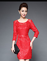 Women's Lace Casual/Daily Sophisticated A Line Dress,Solid Round Neck Above Knee ¾ Sleeve Others All Seasons Mid Rise Micro-elastic Medium