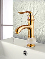 Antique Centerset Widespread with  Ceramic Valve Single Handle One Hole for  Ti-PVD , Bathroom Sink Faucet