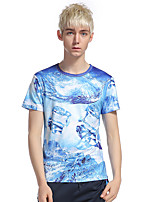 Men's Casual/Daily Beach Holiday Simple T-shirt,Print Round Neck Short Sleeve Cotton