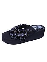 Women's Slippers & Flip-Flops Summer Mary Jane Fleece Outdoor Dress Casual Flat Heel Rhinestone Walking