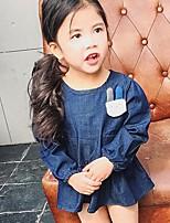 Vestido Chica de Un Color Algodón Manga Larga Verano Otoño