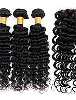 Tissages de cheveux humains Cheveux Péruviens Ondulation profonde 12 mois 4 Pièces tissages de cheveux