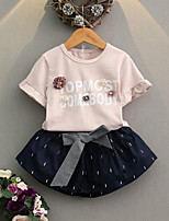 Girls' Casual/Daily Print Sets,Cotton Summer Short Sleeve Clothing Set