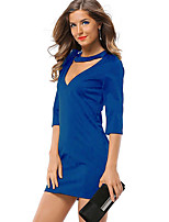 Women's Party Club Sexy Simple Bodycon Dress,Solid Color Block Patchwork V Neck Mini ¾ Sleeve Polyester Spring Summer High Rise Stretchy