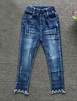 Para Meninas Jeans Informal Casual Cor Única Verão Primavera