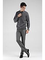Herren Standard Pullover-Lässig/Alltäglich Einfach Solide Rundhalsausschnitt Langarm Wolle Frühling Herbst Mittel Mikro-elastisch