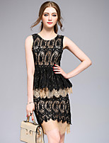 DFFDWomen's Going out Casual/Daily Sexy Street chic Sophisticated Bodycon Lace DressSolid Round Neck Above Knee Sleeveless Polyester Summer