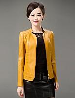 Для женщин На выход На каждый день осень Кожаные куртки Воротник-стойка,просто Однотонный Короткие Длинный рукав,Полиуретановая Овчина