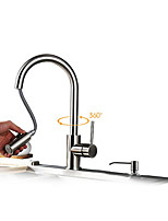 Contemporary Art Deco/Retro Modern Pull-out/Pull-down Vessel Widespread Pullout Spray with  Ceramic Valve Single Handle Kitchen Faucets