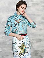 Chemise Femme,Imprimé Décontracté / Quotidien Travail Chinoiserie Printemps Eté Manches Longues Col de Chemise Coton Fin