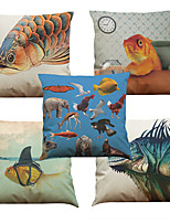 Set of 5 Creative Animals Pattern  Linen Pillowcase Sofa Home Decor Cushion Cover (18*18inch)