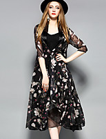 YHSPWomen's Going out Beach Holiday Sophisticated Loose Chiffon Swing DressFloral U Neck Midi  Length Sleeve Polyester Spring SummerMid