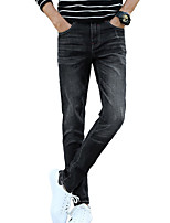 Men's Mid Rise Micro-elastic Jeans PantsSimple Slim Solid ACD-A137