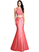Formal Evening Dress Trumpet / Mermaid Jewel Floor-length Lace Taffeta with Beading Embroidery