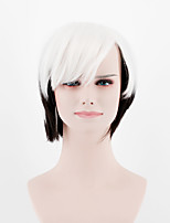 Japan and South Korea fashion gradient white black short section oblique Bangs straight hair high temperature wire wig