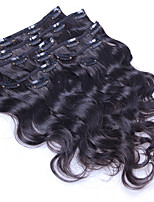 100% grampo onda natural do corpo em extensões de cabelo humano grampo de cabelo brasileiro em extensão 8 unidades / 100g conjunto