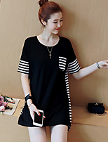 Women's Plus Size Casual/Daily Vintage Simple T-shirt,Animal Print V Neck Short Sleeve Cotton Polyester