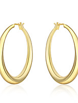 Hoop Earrings Euramerican Silver Plated Simple Round Jewelry For Daily 1 pair