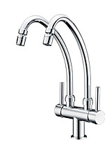 Contemporary Standard Spout Centerset Rotatable with  Ceramic Valve Two Handles One Hole for  Chrome , Kitchen faucet
