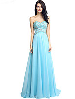 Formal Evening Dress Sheath / Column Sweetheart Sweep / Brush Train Tulle with Beading