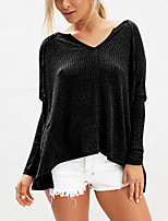 Women's Going out Casual/Daily Sexy Backless Fashion All Match Split Simple Spring Fall T-shirtSolid V Neck Long Sleeve Medium