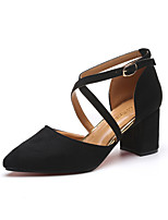 Damen-Sandalen-Outddor Kleid Lässig-Vlies-Blockabsatz Block Ferse-T-Riemen-Schwarz Beige Grau