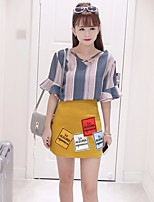 Women's Casual/Daily Sexy Simple Summer Shirt Skirt Suits,Striped V Neck Long Sleeve Polyester