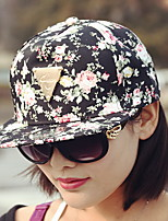 Women 's Summer Cotton Fresh Floral Print Hip Hop Baseball Cap Triangle Icon Flat Couple Hat
