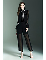 NEDO Women's Going out Party/Cocktail Holiday Simple Street chic Spring Summer Shirt Pant SuitsSolid Shirt Collar Long Sleeve Polyester