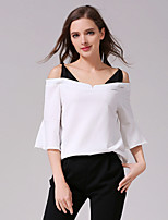 Women's Going out Sexy Spring Summer Shirt,Color Block Boat Neck ½ Length Sleeve White Black Cotton Opaque