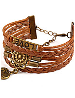 Bracelet Wrap Bracelet Leather Heart Gothic Vintage Special Occasion Gift Jewelry Gift Brown,1pc