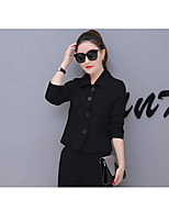 Women's Casual/Daily Simple Spring T-shirt Pant Suits,Solid Shirt Collar ¾ Sleeve Cotton
