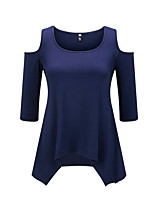 Women's Cut Out Casual/Daily Work Sexy Sophisticated T-shirt,Solid Round Neck Long Sleeve Cotton Rayon
