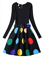 Girl's Polka Dot Dress,Polyester Spring Fall Long Sleeve