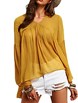 Women's Going out Holiday Vintage Sophisticated Blouse,Solid V Neck Long Sleeve Rayon Polyester