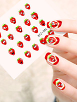 5pcs/set Fashion Sweet Style Fruit Nail Art Sticker Lovely Red Strawberry Cute Expression Design Nail Water Transfer Decals Nail DIY Beauty STZ-006
