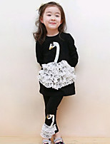 Girl's Going out Casual/Daily Holiday Print Patchwork Cotton Lace Swan Spring/Fall Long Sleeve Blouse Legging 2 Piece Clothing Set Children's Garments