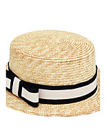 Women 's Beach British Black And White Stripes Bow Cloth Flat Top Sunscreen Straw Hat