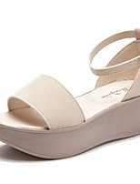 Women's Sandals Summer Creepers Leatherette Outdoor Dress Casual Wedge Heel Buckle Walking