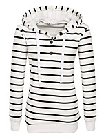 Women's Petite Casual/Daily Active Hoodie Striped Oversized Peter Pan Collar Fleece Lining Micro-elastic Cotton Long Sleeve Spring