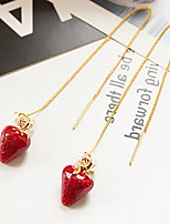 Strawberry Drop Earrings Crystal Imitation Pearl Dangling Style Pendant Eco-friendly Material Alloy Jewelry ForWedding Party Special Occasion