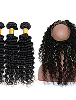 Natural Color Hair Weaves Brazilian Texture Deep Wave 12 Months 4 Pieces hair weaves