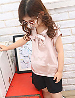 Girls' Casual/Daily Solid Sets,Polyester Summer Short Sleeve Clothing Set