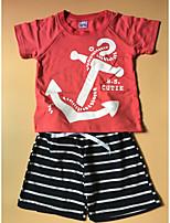 Мальчики Наборы На каждый день Хлопок Однотонный Полоски Лето С короткими рукавами Набор одежды