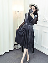 Sign spring new shiny shirt + strap dress pleated diamond velvet piece fitted